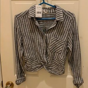 Free People cropped striped shirt